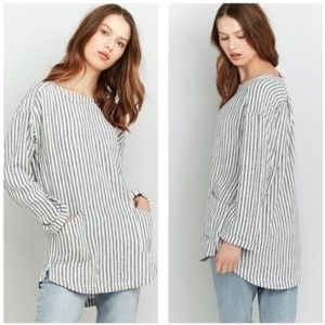 Urban Outfitters Ecote Striped Linen Tunic M